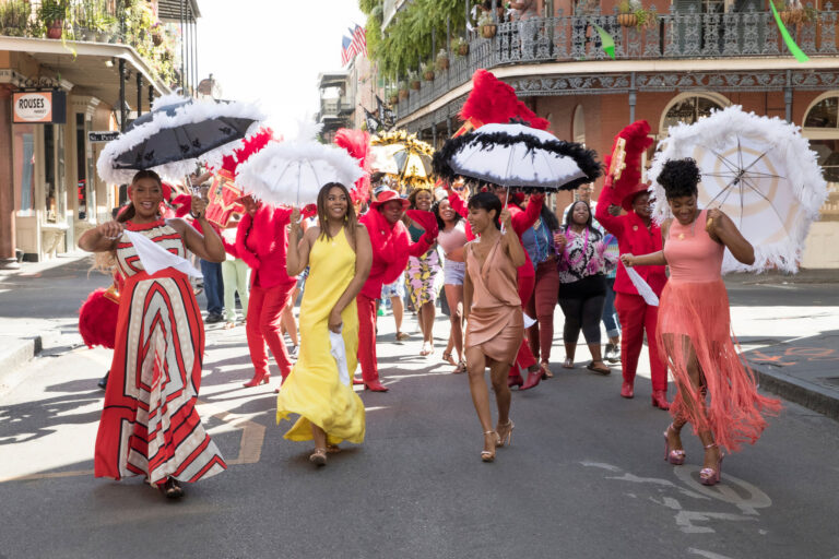 """""""Fierce, Fun and Fabulous"""": Ryan (Queen Latifah), Sasha (Regina Hall), Dina (Tiffany Haddish) and Lisa (Jada Pinkett Smith) have a memorable getaway in Girls Trip (2017), a feel-good comedy about four friends reuniting in the Big Easy during Essence Festival, the largest live event in the country"""
