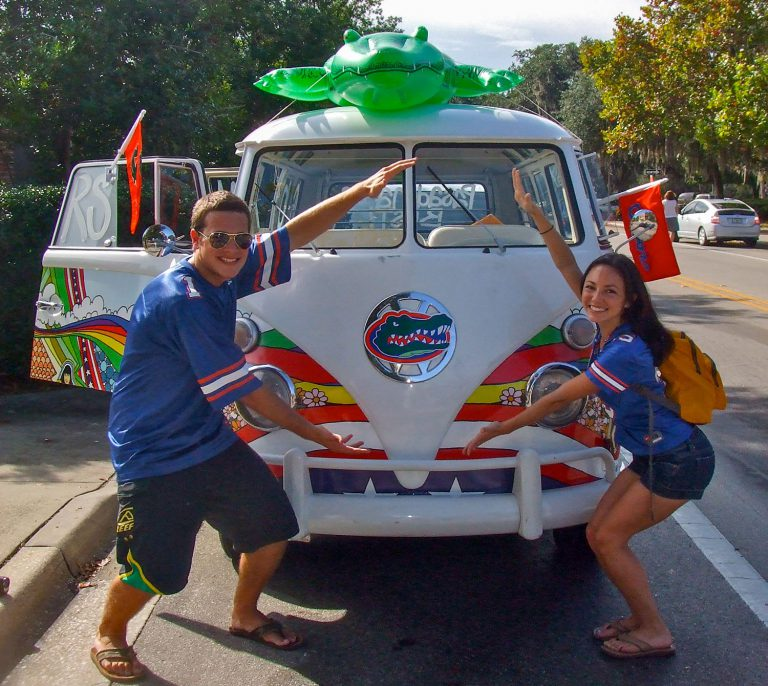 At UF, Drew and I became JanSport marketing interns who rode the company's Gatorized van in the 2009 UF Homecoming parade