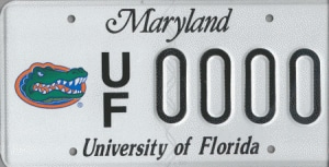Maryland UF license plate
