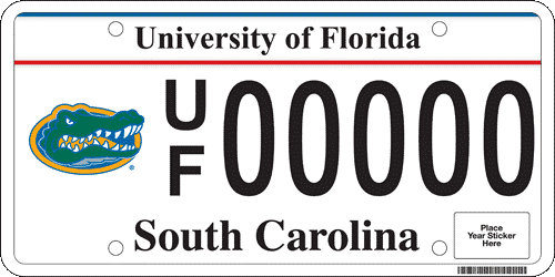 South Carolina UF license plate