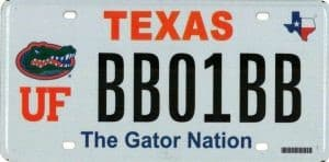 Texas UF license plate