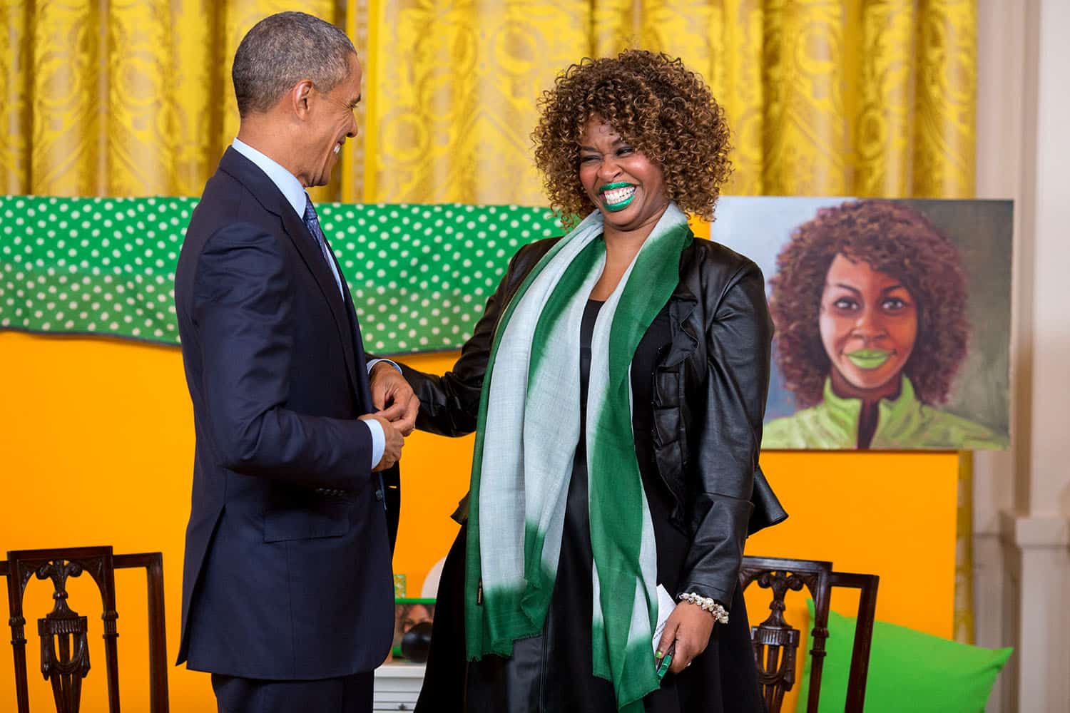 """After interviewing him in 2015, GloZell flubbed while giving President Barack Obama some green lipstick for his """"first wife."""" She later said, """"If I could just see FLOTUS in green lipstick, then I'd know we're cool."""""""