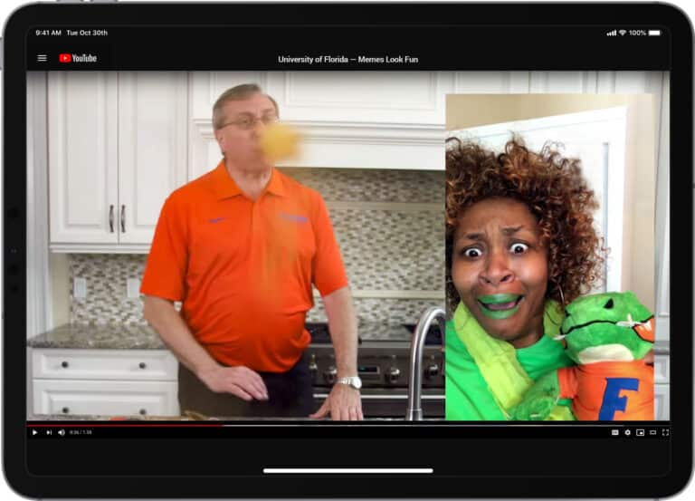 "UF President Kent Fuchs asked GloZell to help him take the Cinnamon Challenge as part of his ""Memes Look Fun"" YouTube video that welcomed students to UF this fall.<br><br>Watch at <a href="
