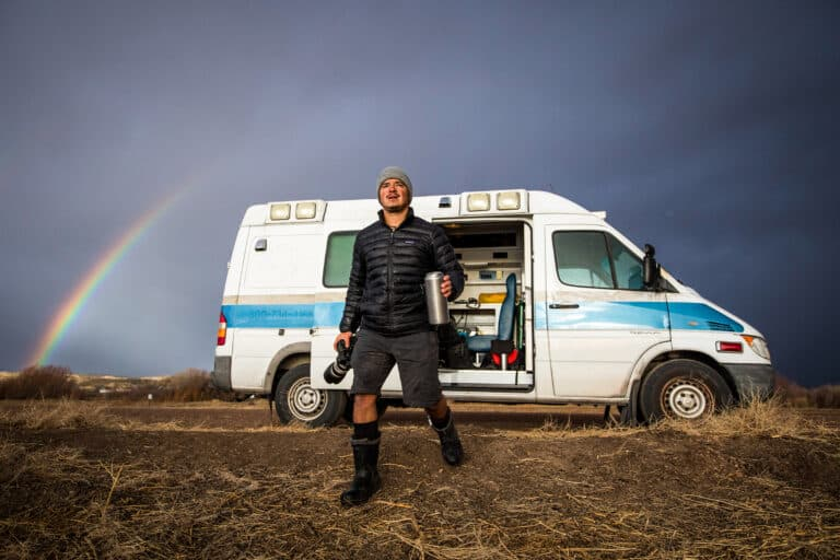 """DeAndrade and his Comfort Theory crew traveled the United States in 2016in search of diverse, iconic and unexpected animal species for season 1 of """"Untamed with Filipe DeAndrade."""" Their home on the road was """"Florence the Manbulance,"""" a 2006 Dodge ambulance converted into a camper."""
