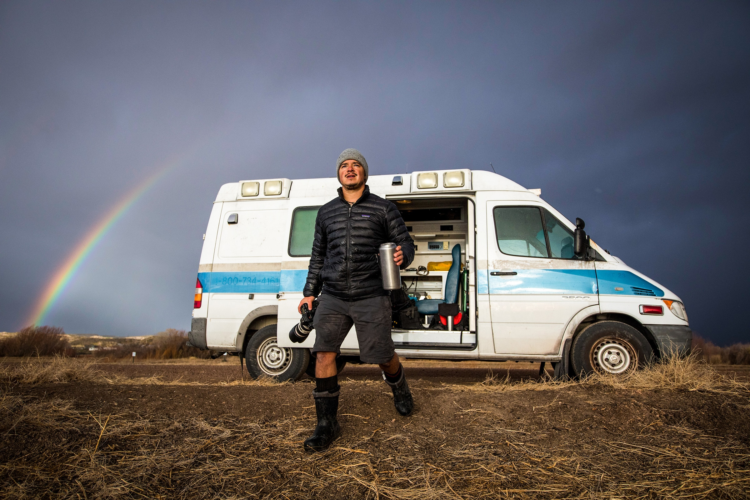 """DeAndrade and his Comfort Theory crew traveled the United States in 2016 in search of diverse, iconic and unexpected animal species for season 1 of """"Untamed with Filipe DeAndrade."""" Their home on the road was """"Florence the Manbulance,"""" a 2006 Dodge ambulance converted into a camper."""