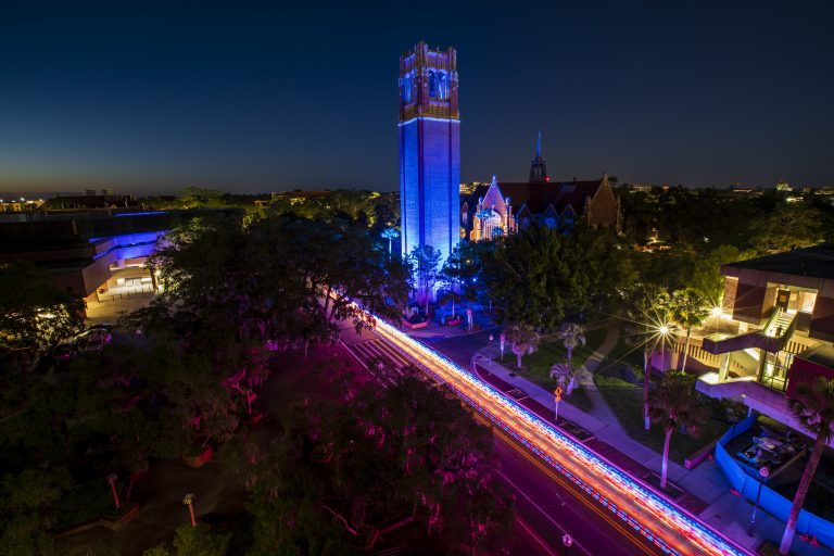 Century Tower was illuminated in blue light from May 6 to May 16 to salute the 11,000+ UF Health Shands employees.