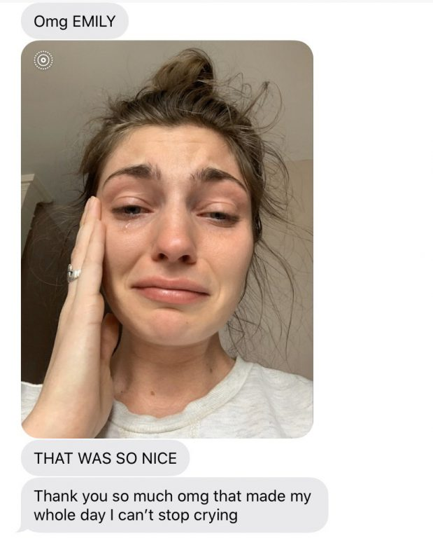 """UF medical students created 6FTCloser, an app that enables people to send frontline COVID-19 workers short videos of gratitude. Here, a nurse responds to a video made for her by """"Emily."""""""