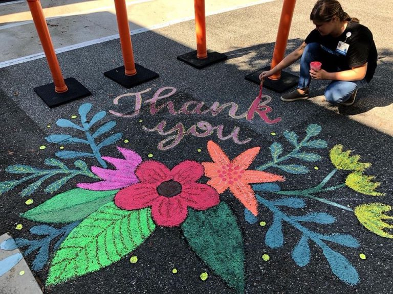 "Messages in chalk, like this vibrant ""Thank You"" outside UF Health Shands Hospital, remind our health care workers that their efforts are noticed and deeply appreciated."