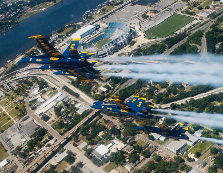The U.S. Navy Blue Angels soared over greater Jacksonville May 8 to cheer health care workers at UF Health and other institutions who are on the front lines of America's battle against COVID-19.