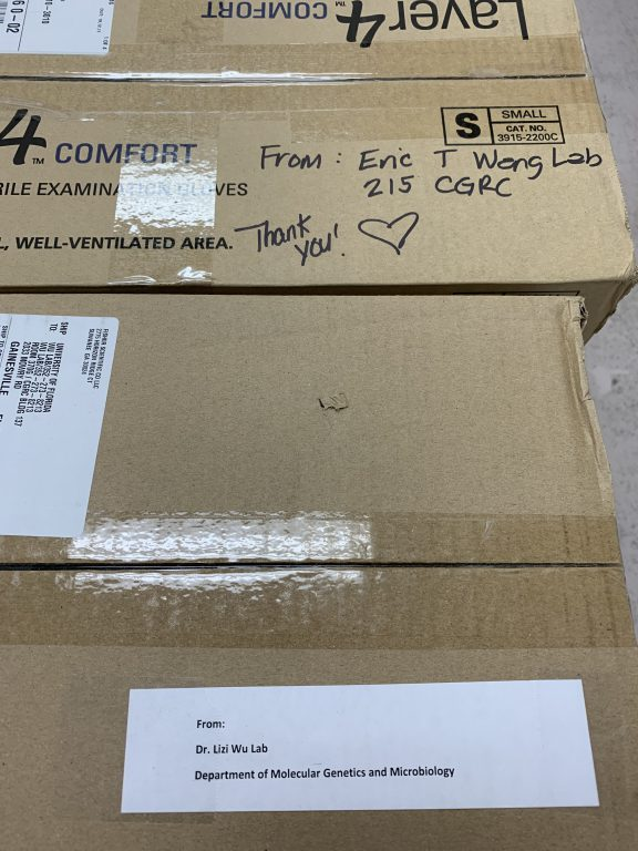A heartfelt message written on a box of supplies – in this case, a box of exam gloves from the Eric T. Wang Lab in the Center for Neurogenetics – epitomizes the spirit that moved hundreds of UF research labs to donate their gear to frontline workers during the pandemic.