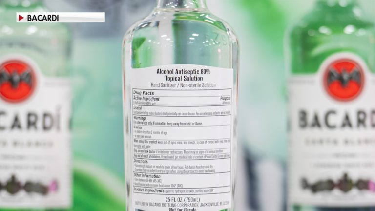The Bacardi bottling plant in Jacksonville produced more than 120,000 bottles of hand sanitizer for Florida's health care workers, including those in the UF Health system.