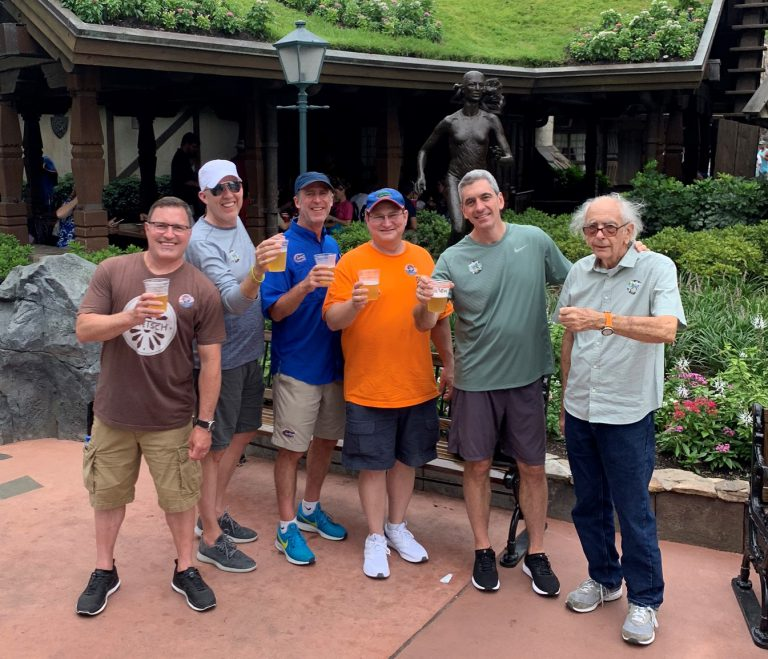 Scott Pressly and his best friends from college — Scott Blews (BA '90, JD '93), Brad Saviello (BSME '90), Chris Winiewicz (BSISE '91) and Mark Montgomery (BSAC '89) — are still close, often vacationing together. The four are pictured here with Scott and his father, Herb.