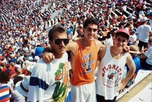 Scott Pressly and college pals John McKinnerney (BSCHE '90) and Scott Blews enjoyed all things Gators as undergraduates, when Scott was president of UF's Society of Chemical Engineers. (Photo courtesy Scott Pressly)