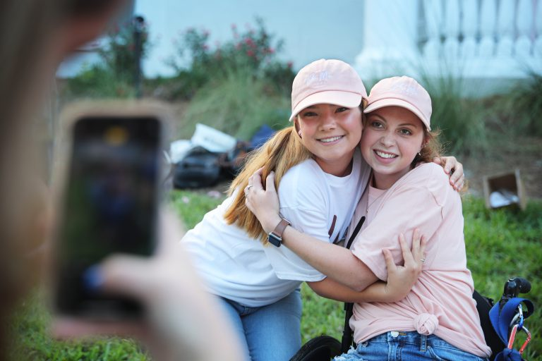 Support and hugs – like this one from fellow sorority sister Danielle Murphy – helped ease Mariel's fears about adjusting to life at UF as a student with disabilities. Before reentering UF as a sophomore in 2019, she confided to her blog she was worried her illness would hold her back and other students might not accept her.