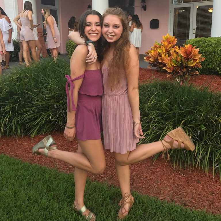 Prior to her illness, Mariel was an active UF student, dedicated exerciser and member of Phi Mu sorority. She is shown here as a freshman with her Phi Mu sister, Ally Tackett, in September 2016. The following year, she fell ill with the rare disease Eosinophilic granulomatosis, which later caused four near-fatal strokes and led to paralysis below the waist.