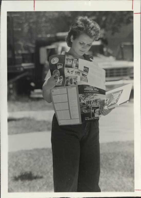 While today's new students often rely on their phones to get around campus, electronic options were not available in the early 1980s.