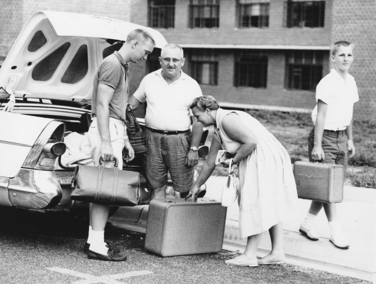 The first University of Florida students – all men -- arrived via train, but as the decades passed, parents transported their children to campus in the family car. The vehicles and fashions have changed, but the move-in ritual still involves plenty of touching moments between proud parents and excited students.