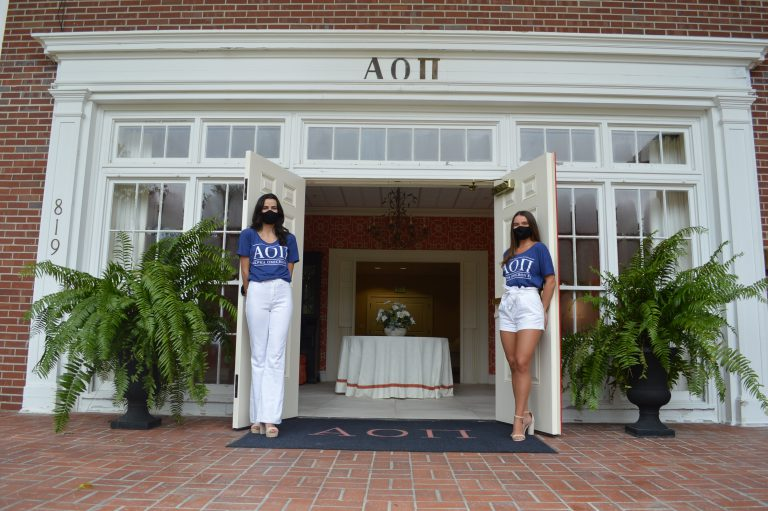 Greek organizations like UF's Delta Gamma chapter (shown in this September 1 social media post) are emphasizing mask wearing; most transitioned to virtual recruitment for the fall semester.