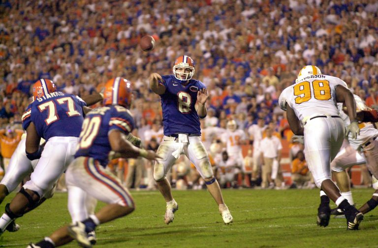 Florida quarterback Rex Grossman (1999-2002 HHP) completed this pass to Robert Gillespie (BSESS '05) in the 4th quarter to gain eight yards. But Rocky Top bested the Gators that day by two points.