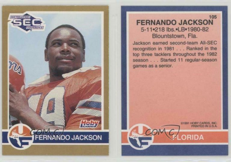 Jackson's late husband, UF linebacker Fernando Jackson from Blountstown, was known for his hard-hitting, explosive tackles. A three-year starter, he finished his UF career with 353 tackles (7th in UF history) and nine forced fumbles (tied for 3rd in UF history).