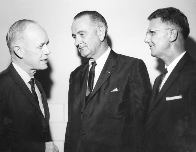 A highlight of each year's Homecoming is the Florida Blue Key Banquet, which features a prominent guest speaker. Giving the keynote address for the 1961 banquet was Vice President Lyndon B. Johnson, shown here flanked by Gov. C. Farris Bryant (BA '35) and UF President J. Wayne Reitz; all three sport the narrow neckties popular at the time.