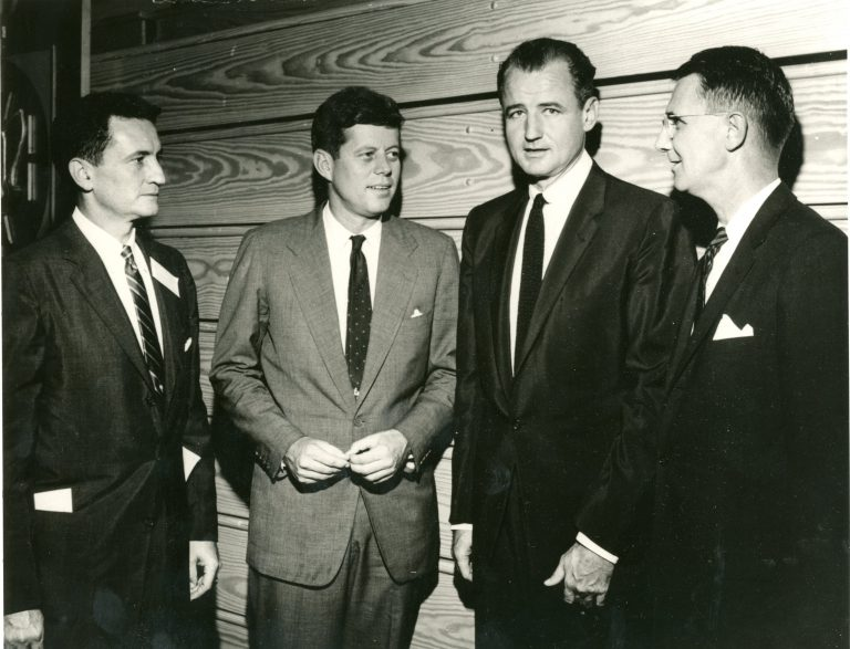 The 1957 Florida Blue Key Banquet was addressed by then-Massachusetts Sen. John F. Kennedy; three years later, Kennedy was elected America's 35th president, starting a trend that would see several FBK banquet speakers go on to win the presidency, including Nixon, Johnson and Bush Sr. From left to right: Florida Supreme Court Justice Stephen C. O'Connell (BSBA '40, LLB '40), Kennedy, U.S. Sen. George A. Smathers (BA '38) and UF President J. Wayne Reitz socialize. A decade later, O'Connell would succeed Reitz as UF's sixth president.
