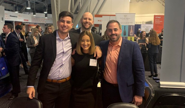 Oracle regularly recruits Gator talent at University of Florida career fairs. Alum Chris Cruanyas, right, joins Oracle employees Lia Pizoli, Rob Palmer and Ben Grant Roy at a recent UF fair in fall 2019.
