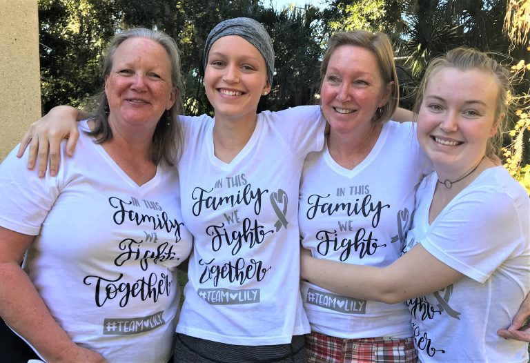 """""""In this family we fight together,"""" read the T-shirts that Norenberg's family had made for Thanksgiving 2019. """"I don't know how I would have gotten through it without the support that I had,"""" said the student. From left to right: Norenberg's aunt Stephanie, Norenberg, mom Cynthia and little sister Jenny."""