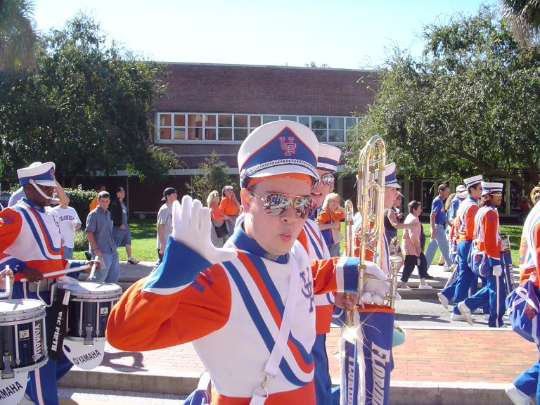"An avid sports fan, DiGangi played trombone in The Pride of the Sunshine for the 2004-2005 football season and in the pep band for the 2005-2006 basketball season, when the Gators won their first national championship. ""I was in the front row, playing, when we won the championship,"" he said.  ""That was one of the highlights of my college career."""