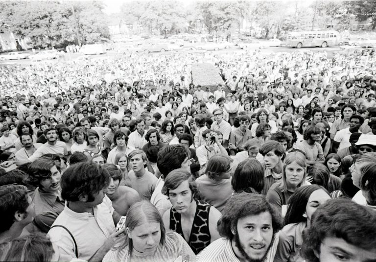 What started as an act of civil disobedience from members of the Black Student Union soon grew to hundreds gathering to protest UF's treatment of campus minorities.