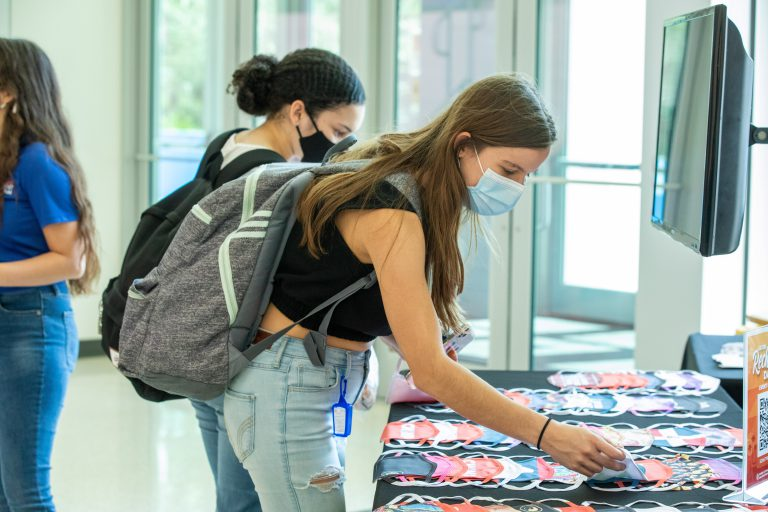 Free, personalized face coverings were among the indoor offerings on Recharge Day. Students could order masks designed from templates or create their own from a mobile device.