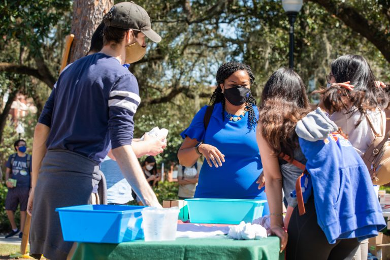 UF Student Government led a T-shirt and cupcake giveaway Feb. 25 at the Plaza of the Americas. D'Andra Mull, vice president for Student Affairs, welcomed students. All photos: UF Division of Student Affairs