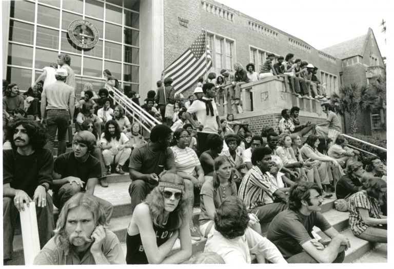 On Black Thursday, April 1971, hundreds of UF students frustrated with the university's refusal to acknowledge a list of demands to improve campus diversity held a sit-in at Tigert Hall. Many of those students would later be gassed and arrested.