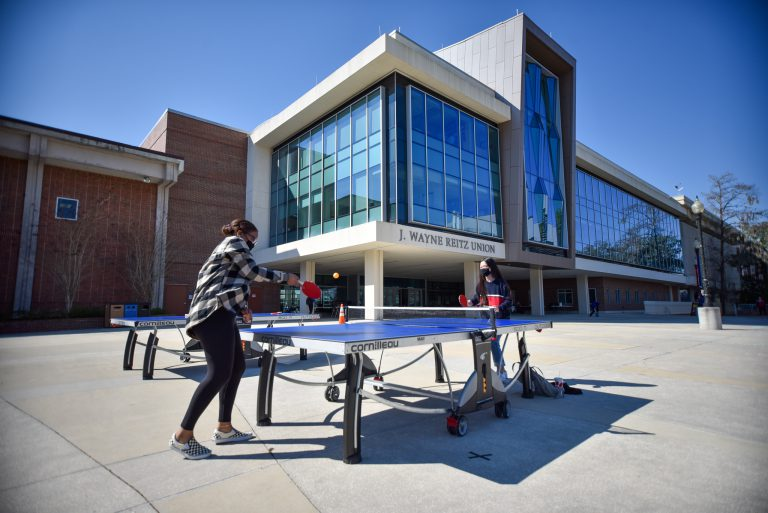 Students could play lawn games, including ping-pong, spike ball and chess on an oversized board, throughout the day.