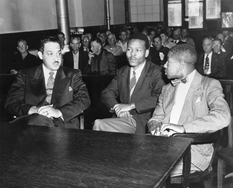 Perkins' father, Paul Perkins Sr. (center), was best known for defending Walter Irvin (right) and Samuel Shepherd in 1951 as part of the Groveland Four case. His co-counsel on the case was Thurgood Marshall (left).