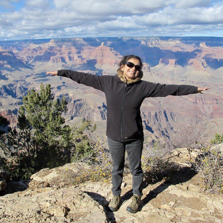 Basu's personal and professional life has been filled with travel. Here, she visits the Grand Canyon.