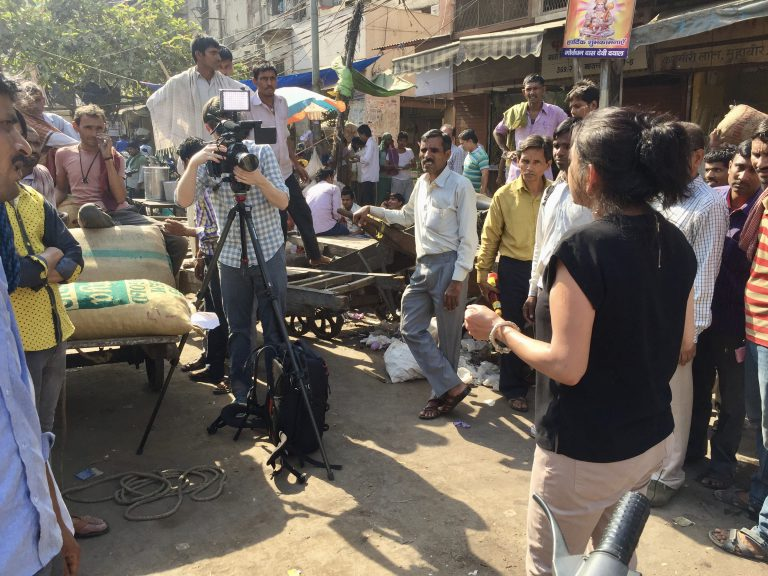 In 2017, Basu reported a series of stories on the new India. She's seen here in New Delhi, filming for a short video she produced on the vast income inequalities in her homeland.