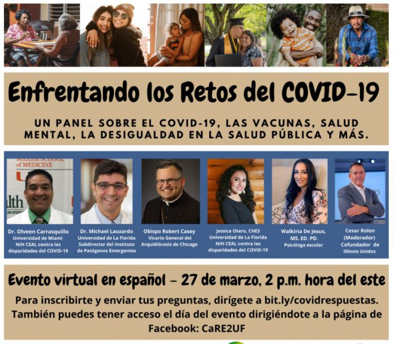 """Lauzardo participates in many Spanish-language town halls to address the public's concerns about the pandemic and vaccine safety. This March 27 Zoom event, """"Facing the Challenges of COVID-19,"""" featured a panel with Lauzardo, physicians, a psychologist and a vicar from Chicago."""