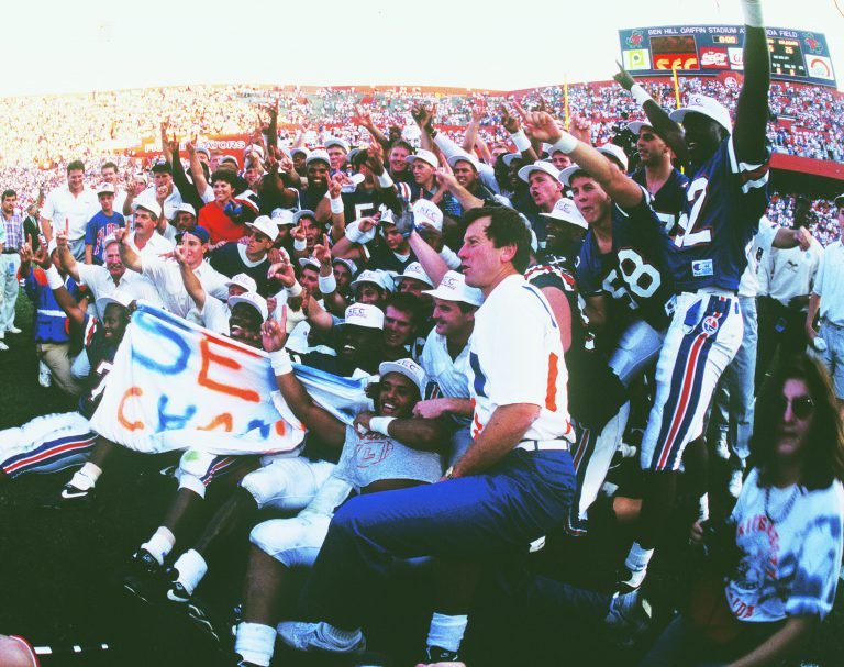 Former UF head football coach Steve Spurrier still holds the record for the most SEC championship games won in a row (1993, 1994, 1995, 1996). Three of those wins were over the Alabama Crimson Tide (1993, 1994 and 1996).