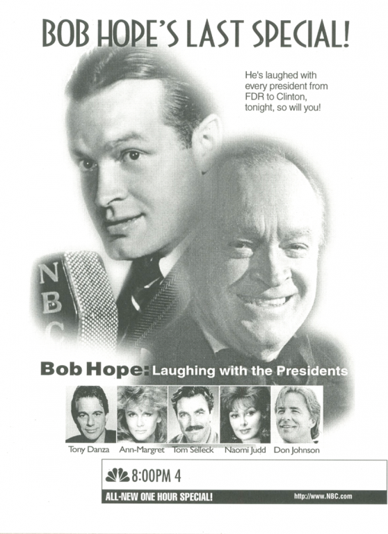 This TV Guide advertisement, published in November 1996, promoted Bob Hope's last television special.