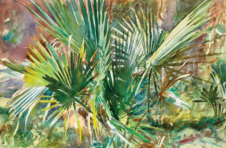 While visiting his friends, the brothers Charles and James Deering, in Miami in 1917, John Singer Sargent (1856-1925) painted a number of brilliant watercolors at James' elaborate Italianate villa, Vizcaya. In this work, <em>Palm Thicket</em>, Sargent expertly captures the sharp-edged fronds of the saw palmettos and the play of sunlight and shadow.
