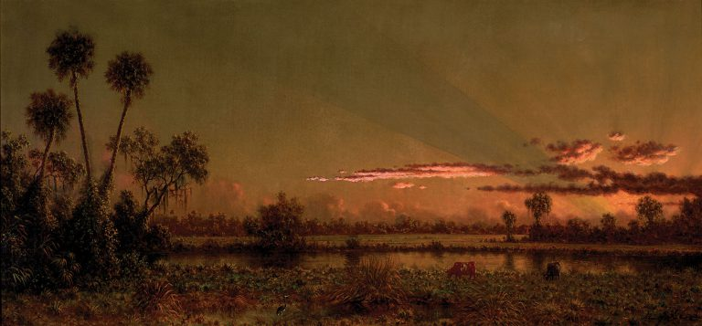 Painted between 1885 and 1890, <em>Tropical Sunset: Florida Marsh</em> is a glorious example of Martin Johnson Heade (1819-1904)'s luminous, finely observed style. Note how the rose-toned hues of the sunset illuminate cows grazing by the lake and even the individual fronds of a palmetto.