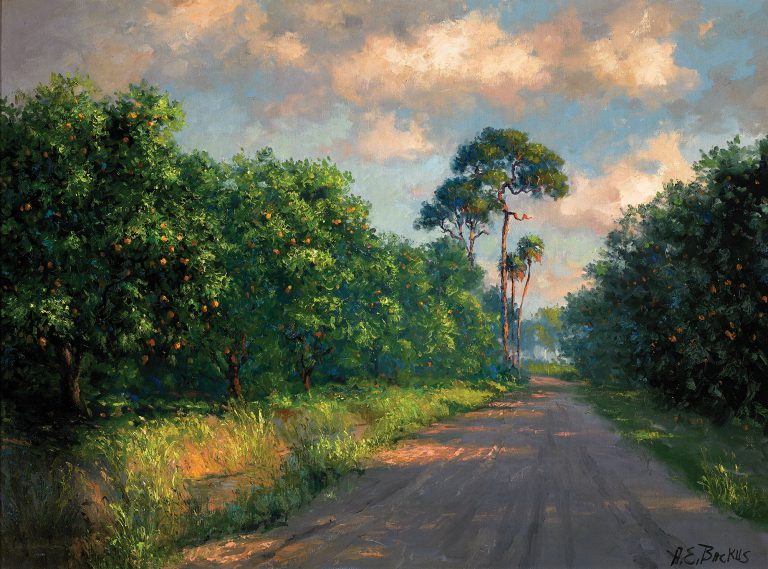 The Florida Collection includes works by the African American artists known as The Highwaymen as well as their teacher, A. E. Backus (1906-1990), an artist from Fort Pierce. This undated work, <em>Road Through the Orange Grove</em>, showcases Backus's realistic, yet expressive, style of landscape painting.