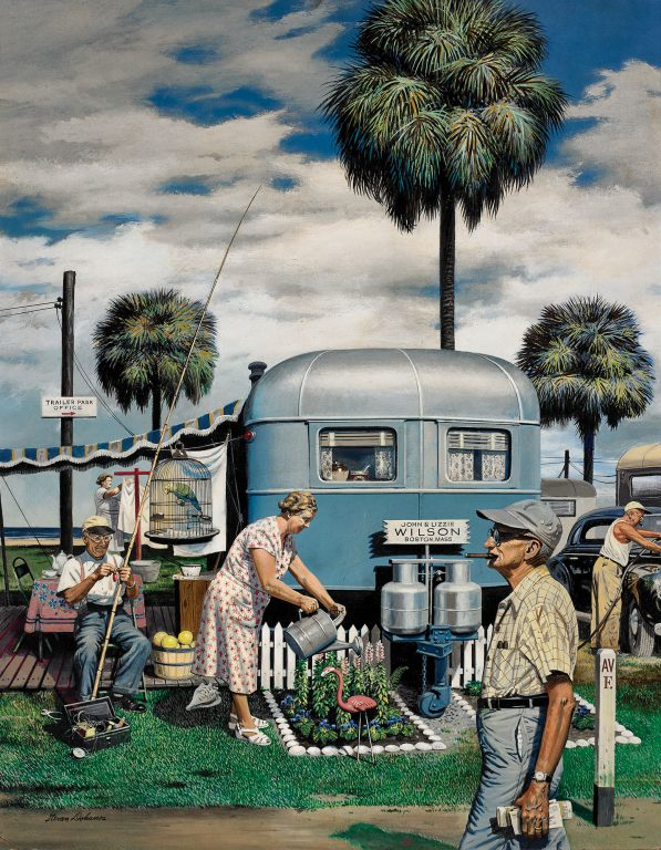 <em>Trailer Park Garden</em> (1951, oil on Masonite), by Stevan Dohanos (1907-1994), first appeared on the Feb. 2, 1952, cover of Saturday Evening Post, a publication for which he created 125 covers during his career. This humorous work depicts a busy corner of of a trailer park in Bradenton, Florida.
