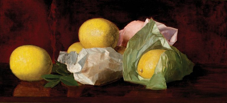 Trained at the Pennsylvania Academy of Fine Arts, artist William McCloskey (1859-1841) produced paintings of wrapped citrus that have become highly collectible, showcasing his dazzling trompe l'oeil skills as well as Florida's burgeoning citrus industry. <em>Florida Lemons</em> (1889) epitomizes McCloskey's delicate execution and perfect realism.