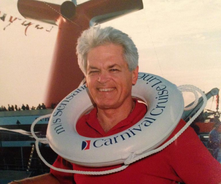 Gator Everette Phillips rose from ordinary beginnings to found Seachest, which supplied food, beverages and more for Carnival Cruise Lines. He endowed a scholarship fund for local students through the MFOS program. He is shown here aboard the MS Carnival Sensation in 1993.