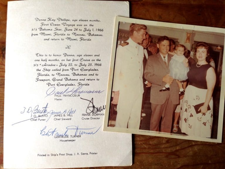 """A master of thoughtful details, Everette (shown here, center, with family) celebrated his 11-month-old daughter Donna's first cruise in 1966 by issuing a """"First Ocean Voyage"""" certificate. Signed by crew members, it lists the MS Ariadne's passage from Port Everglades to Nassau to Freeport and back again."""