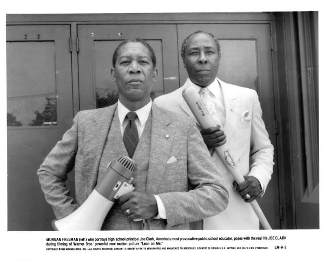 Actor Morgan Freeman (front) portrayed Joe Clark Sr. (back) in the 1989 film Lean on Me.