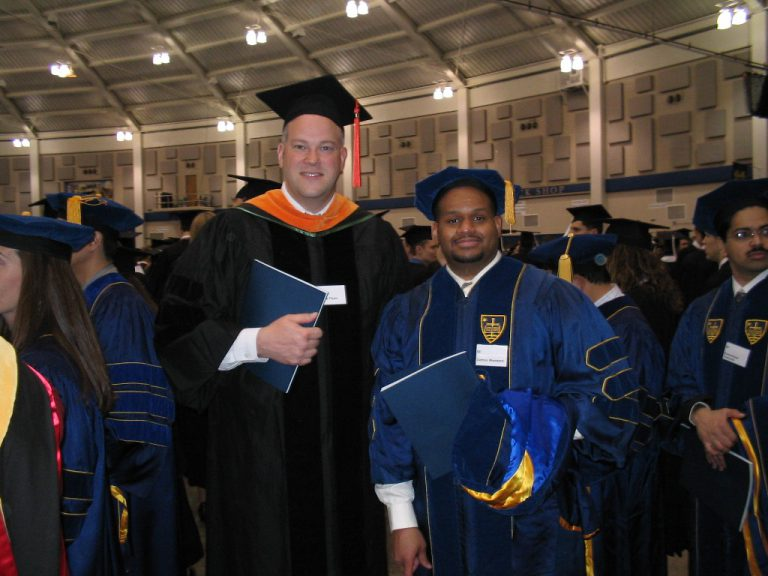 """Damon Woodard with his dissertation adviser and mentor, Patrick Flynn, at Notre Dame. """"He taught me a lot during my time as a graduate student,"""" says Woodard, """"and all these years later, I find value in his advice as a faculty member."""""""
