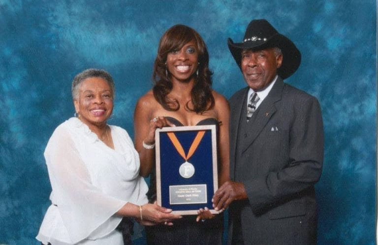 At Hazel Clark's 2012 UF Hall of Fame induction ceremony, she thanked her father, Joe Clark Sr., for attending every single one of her meets in college and for pushing her to achieve her very best.